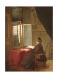 An Old Man Seated before a Window, Reading, 1653 or 1655 Lámina giclée por Jacobus Vrel