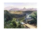 Citlaltepetl Volcanol with Steam Train in Foreground, 1878 Giclée-Druck von Jose Maria Velasco