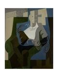 Seated Harlequin, C.1920 Giclée-tryk af Juan Gris
