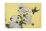 Hydrangea and Swallow, C. 1832 Impressão giclée por Katsushika Hokusai