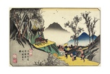 No.44 Distant View of Magome Station from the Pass, 1830-1844 Giclee Print by Keisai Eisen