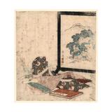 Heike Monogatari to Biwa to Tsuitate Giclee Print by Keisai Eisen