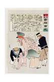 Russian Soldier Has His Wounds Attended to by Japenese Military Personnel Giclee Print by Kobayashi Kiyochika