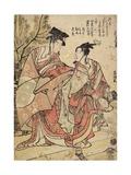 The First Month, Manzai Dancers, C. 1793 Impressão giclée por Katsushika Hokusai