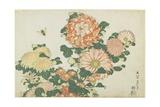 Chrysanthemums and Horsefly, C. 1832 Impressão giclée por Katsushika Hokusai