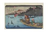 No.55 Cormorant Fishing Boat at Nagae River Near Koto Station, 1830-1844 Giclee Print by Keisai Eisen