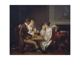 Painting of Family Game of Checkers, Ca 1803 Giclee Print by Louis Leopold Boilly