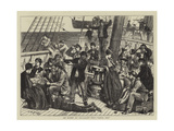 On Board an Emigrant Ship, Land, Ho! Giclee Print by Matthew White Ridley