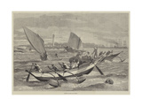 Ceylon Boats at Galle Giclee Print by Matthew White Ridley