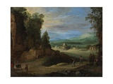 Landscape with Men Playing 'Mail À La Chicane', 1624 Giclee-trykk av Paul Brill