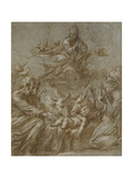 The Nativity of Christ (Pen and Brown Ink Washed in Grey and Heightened with White Bodycolour on Bl Gicléetryck av Parmigianino,