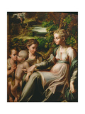 Virgin and Child, with Saints Catherine and John Gicléetryck av Parmigianino,