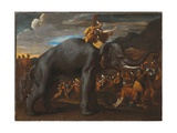 Hannibal Crossing the Alps on an Elephant Stampa giclée di Nicolas Poussin