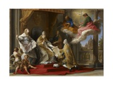 Pope Benedict XIV Presenting the Encyclical 'Ex Omnibus' to the Comte De Stainville Giclée-tryk af Pompeo Girolamo Batoni