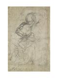 Studies for Two Kneeling Women Reproduction procédé giclée par  Raphael