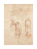 Washerwomen on the Banks of the Tiber and Studies of the Chateau Saint-Ange (Red Chalk on Paper) Reproduction procédé giclée par  Raphael