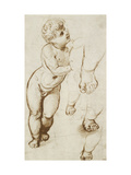 The Infant Christ and Other Studies (Pen and Dark-Brown Ink over Preliminary Indications in Leadpoi Reproduction procédé giclée par  Raphael