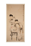Two Boys Playing with Goldfish, 1879 (Hanging Scroll, Ink and Colour on Paper) Gicléedruk van Ren Yi