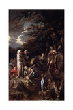 St. John the Baptist Preaching in the Wilderness, C.1660 Giclée-tryk af Salvator Rosa