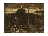 Late Twilight, 1825 (Pen and Dark Brown Ink with Brush in Sepia Mixed with Gum Arabic; Varnished) Lámina giclée por Samuel Palmer