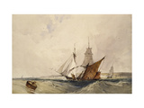 Shipping Off the Kent Coast (Pen and Grey Ink and Watercolours on Paper) Giclee Print by Richard Parkes Bonington