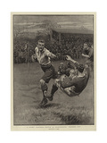 A Rugby Football Match at Blackheath, Handed Off Reproduction procédé giclée par S.t. Dadd