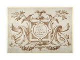 Strapwork Cartouche Associated with the Set of His Roman Views (Pen and Brown Ink with Brown Wash o Giclée-Druck von Sebastian Vrancx