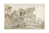 Basilica of Constantine. Entrance Wall in a Fantastic Setting (Pen and Ink with Wash on Paper) Giclée-Druck von Sebastian Vrancx