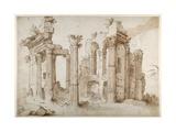 Columniated Ruins of the Temple of Minerva Giclée-Druck von Sebastian Vrancx