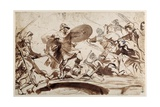 Horatius Cocles Defending the Tiber Bridge (Pen and Ink with Wash on Paper) Giclée-Druck von Sir Anthony Van Dyck