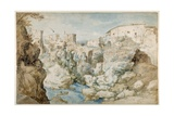 View of Tivoli with the Temple of the Tiburtine Sibyl and the Falls (Pen and Ink with Brown and Blu Giclée-Druck von Sebastian Vrancx