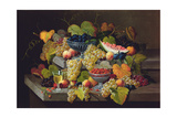 Still Life of Melon, Plums, Grapes, Peaches, Cherries, Strawberries Etc on Stone Ledges Giclee Print by Severin Roesen