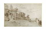Houses Among the Ruins with a Distant View of Rome (Pen and Ink with Wash on Paper) Giclée-Druck von Sebastian Vrancx