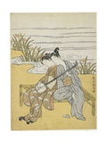 Lovers Playing the Same Shamisen as a Mitate of Emperor Xuanzong and Yang Guifei, C. 1767 Giclee Print by Suzuki Harunobu
