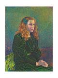 Young Woman in Green Dress, 1893 Gicléetryck av Theo van Rysselberghe