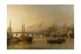View of Newcastle from the River Tyne, with Shipping in the Foreground, 1831 Giclee Print by Thomas Miles Richardson