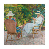 Maria and Elisabeth Van Rysselberghe Knitting in the Garden, C.1912 Gicléetryck av Theo van Rysselberghe