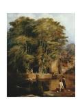Young Anglers, Barras Bridge Giclee Print by Thomas Miles Richardson