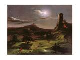 Landscape (Moonlight), C.1833-34 Giclée-tryk af Thomas Cole