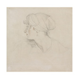 Mrs Jens Wolff (Black Chalk, Touched with Red Chalk on Thin Laid White Paper, Laid on Japan Paper) Giclée-tryk af Thomas Lawrence