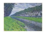 Canal in Flanders; Le Canal En Flandre Par Temps Triste, 1894 Gicléetryck av Theo van Rysselberghe