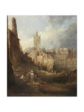 Excavations for the High Level Bridge, Newcastle Upon Tyne, C.1846 Giclee Print by Thomas Miles Richardson