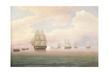 Escape of the U.S. Frigate Constitution, 1838 Giclee Print by Thomas Birch