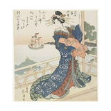 Courtesan Looking at a Foreign Ship, 1818-1844 Giclee Print by Toyota Hokkei