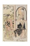 Four Women in Mitate as Ushiwaka Serenading Jo-Ruri-Hime, 1785 Giclee Print by Torii Kiyonaga