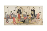 Triptych of Cooling Off in the Evening at Shijo Riverbank, 1784 Giclee Print by Torii Kiyonaga
