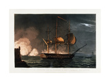 Cutting Out the Hermoine from the Harbour of Porto Cavailo Giclee Print by Thomas Whitcombe