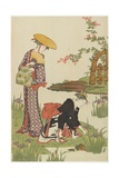 Women by an Iris Pond, 1785 Giclee Print by Torii Kiyonaga