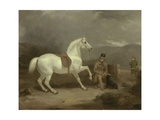 Mr. Johnstone King's Grey Shooting Pony Waiting with a Groom on a Scottish Moor, 1835 Giclee Print by Thomas Woodward