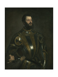 Portrait of Alfonso D'Avalos, Marchese Del Vasto, in Armor with a Page, 1533 Giclée-tryk af  Titian (Tiziano Vecelli)